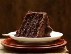 piece of super chocolate cake on a plate